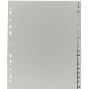 DIN A4 überbreit grau A-Z 245 x 297 mm Eurolochung PP Register Falken;...