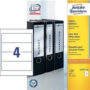 192 x 61 mm blickdicht Hochweiss AVERY Zweckform L4761 40 Ordner-Etiketten